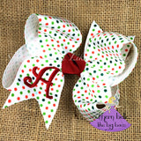 Polka Dot Christmas Hair Bow with Initial Letter