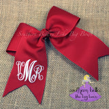 Personalized Red Cheer Bow with Monogram
