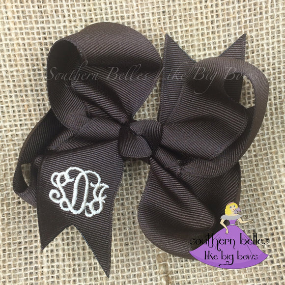 Brown Monogrammed Baby Bow with Headband