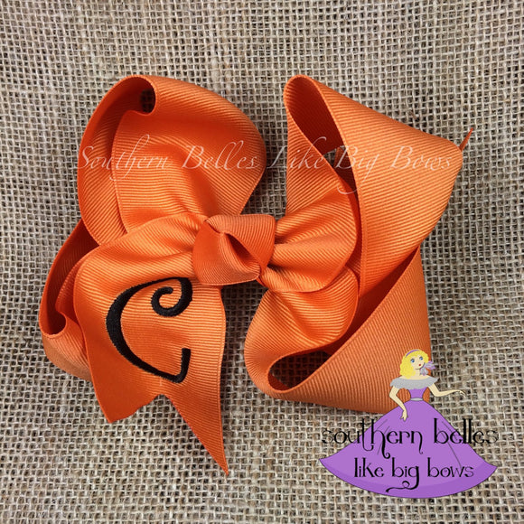 Orange Pumpkin Spice Bow with Initial Letter