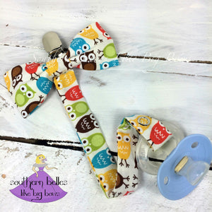 Baby Boy Owl Bow Tie Pacifier Clip for New Baby Gift