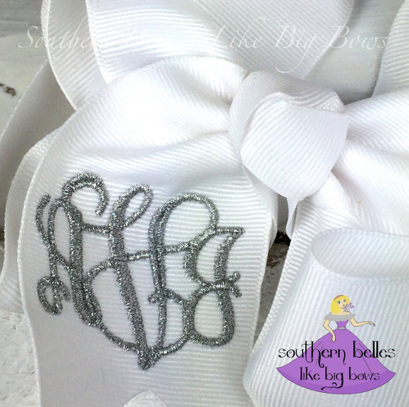 White Monogrammed Bow in Large with Metallic Thread