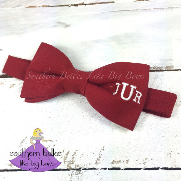 Red Bow Tie with Traditional Monogram