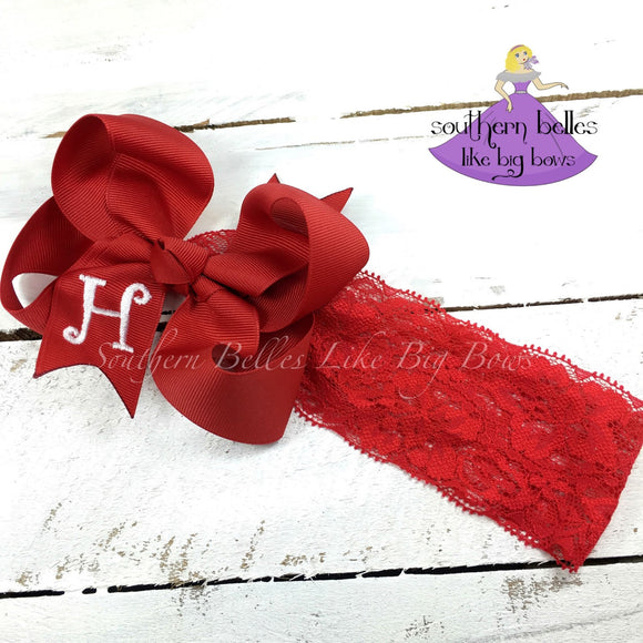 Red Baby Bow with Monogram on Lace Band