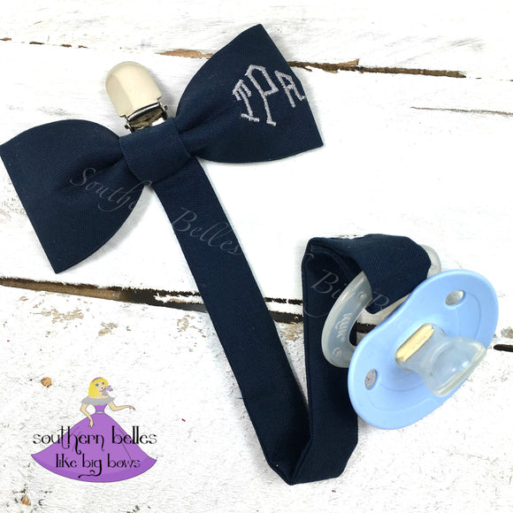 Navy blue bow tie personalized pacifier clip for baby boy with diamond font monogram