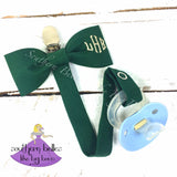 Forest green baby bow tie personalized pacifier clip