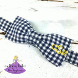 Gingham Checks Bow Tie with Monogram