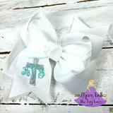 Easter Bow with Cross and Monogram (Various Sizes & Colors)