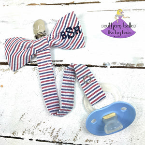 Red White and Blue Striped Seersucker Bow Tie Pacifier Clip for Boy