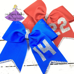 Softball Bow with Number - Large Cheer Size