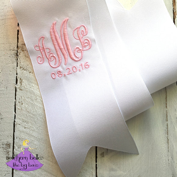 Monogrammed Bridal Bouquet Ribbon with Wedding Date