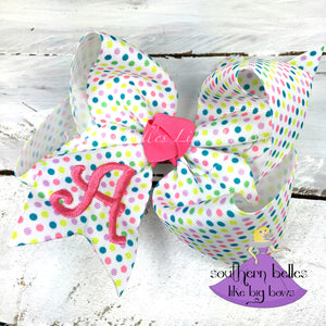 Monogramed Polka Dot Bow