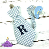 Gray and White Checks Pacifier Clip for Baby Boy Shower Gift Ideas