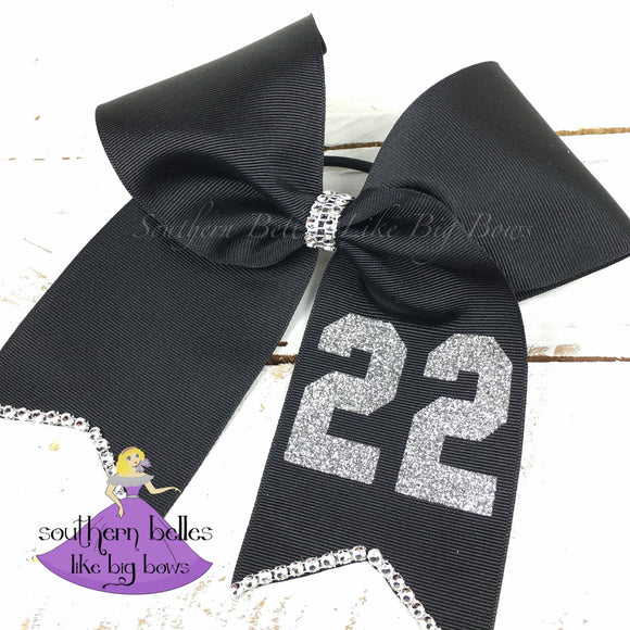 Black Softball Bow with Number - Large Cheer Size