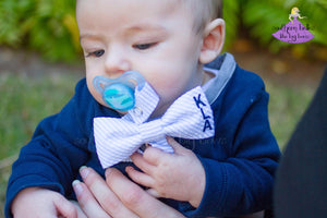 Personalized Seersucker Bow Tie Pacifier Clip for Boy (Multiple Colors)