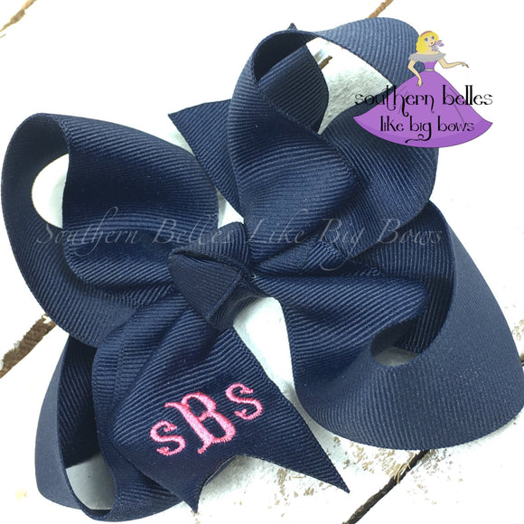 Monogrammed Bow with Fishtail Font - Small to Medium