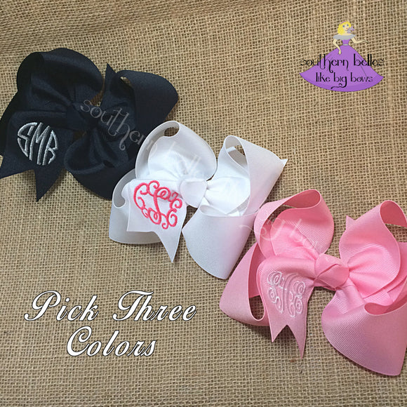 Large and Jumbo Monogrammed Bows Gift Set for Girl