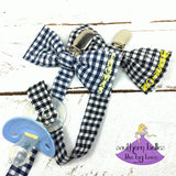 Checked Gingham Plaid Bow Tie Pacifier Clip with Name
