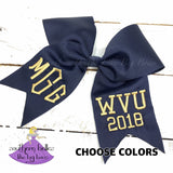 Navy Graduation Bow that is personalized with your custom grad year, degree and school letters