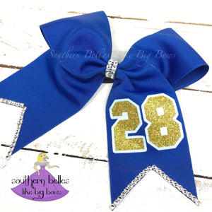 Softball Bow with Player Number - Large Cheer Size