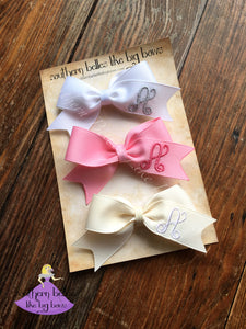 Personalized Hair Bow Clips with Initial Letter Gift Set