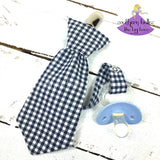 Navy Gingham Pacifier Clip