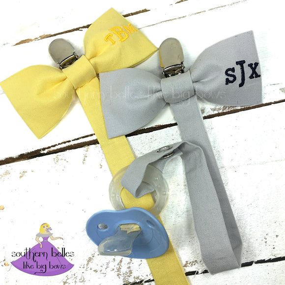 Personalized Bow Tie Pacifier Clip for Baby Boy