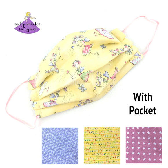 Kids Reusable Quilting Fabric Face Masket with Filter Pocket in Fairies, Teddy Bears, or Stars