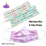 Kids Washable Face Mask with Unicorns, Stars, or Lavender Tie Dye Swirls and Gold Glitter Accents and aqua blue