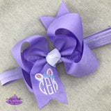 Lavender easter baby bow headband personalized with easter bunny monogram