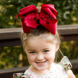 Big Layered Cranberry Red Bow for the Fall
