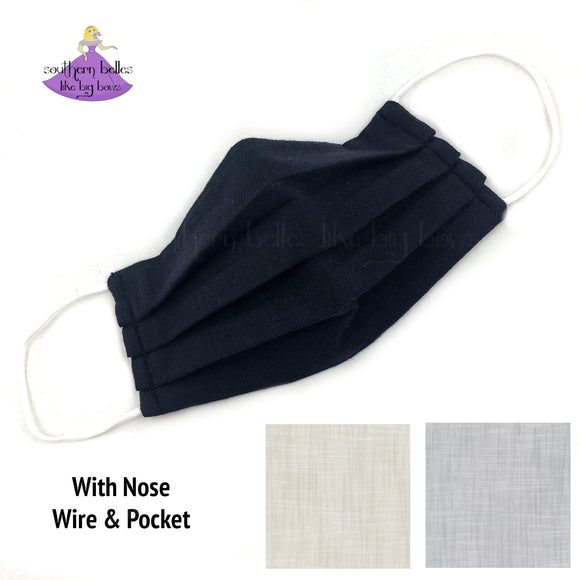Linen Face Mask for Corporate Professional with Nose Wire and Filter Pocket