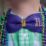 Personalized Mardi Gras Bow Tie with Monogram
