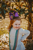 Big Personalized Mardi Gras Boutique Bow with Monogram and Jester Hat