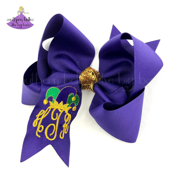 Personalized Mardi Gras Jester Hat Hair Bow with Monogram