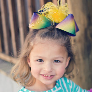 Big Mardi Gras Ombre Boutique Bow with Feathers and Loop Monogram