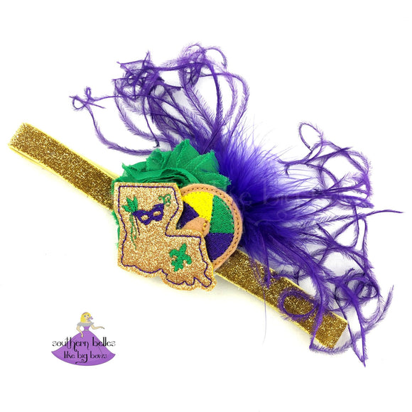 Louisiana Baby Headband for Mardi Gras with king cake and feathers