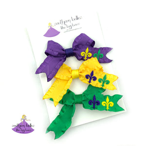 Mardi Gras Hair Bow Set with Fleur-de-lis for babies, toddlers, or little girls