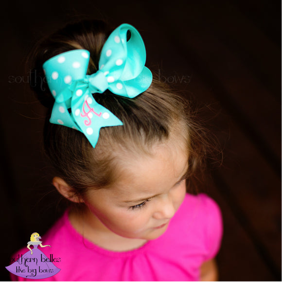 Personalized Aqua Polka Dot Bow with Embroidered Initial Letter