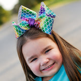 Big Mermaid Bow with rainbow holographic scales