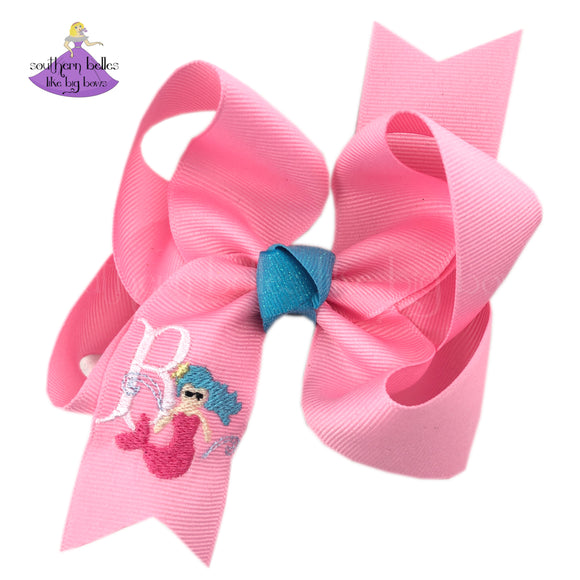 Personalized with Initial Letter Mermaid Hair Bow Gift for Girl