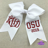 Personalized white grad cap bow withe monogram and school letters