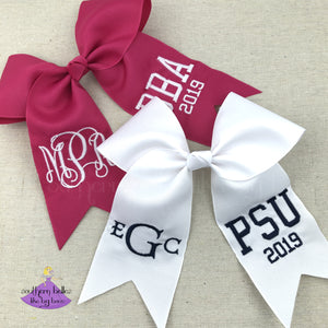 Custom graduation cap topper bow withe monogram and school letters or degree in a variety of color options