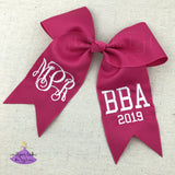 Shocking pink graduation cap decoration bow personalized with vine monogram and degree