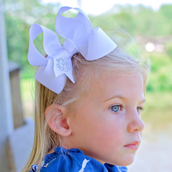 White Monogrammed Boutique Hair Bow