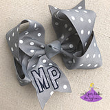 Grey & White Polka Dot Moss Point Bow