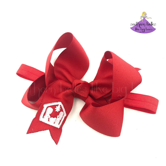Red baby bow headband with nativity scene for Christmas