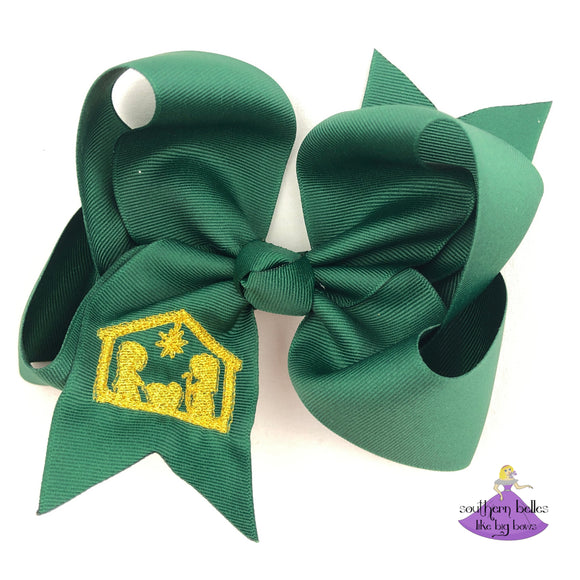 Big dark green boutique bow for Christmas with Nativity scene embroidered in metallic gold
