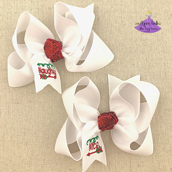 Naught and nice list Christmas hair bows