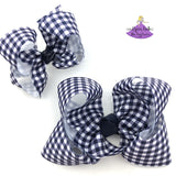 Big navy plaid check boutique bow and small navy hair bow with navy blue and white checks